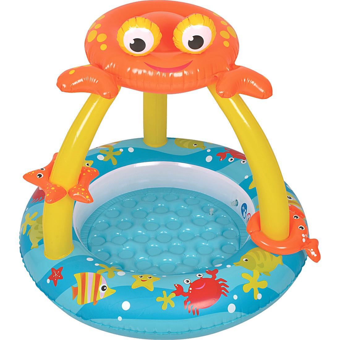 jilong crab baby pool plus kinder planschbecken mit aufblasbarem boden und sonnenschutz f r. Black Bedroom Furniture Sets. Home Design Ideas