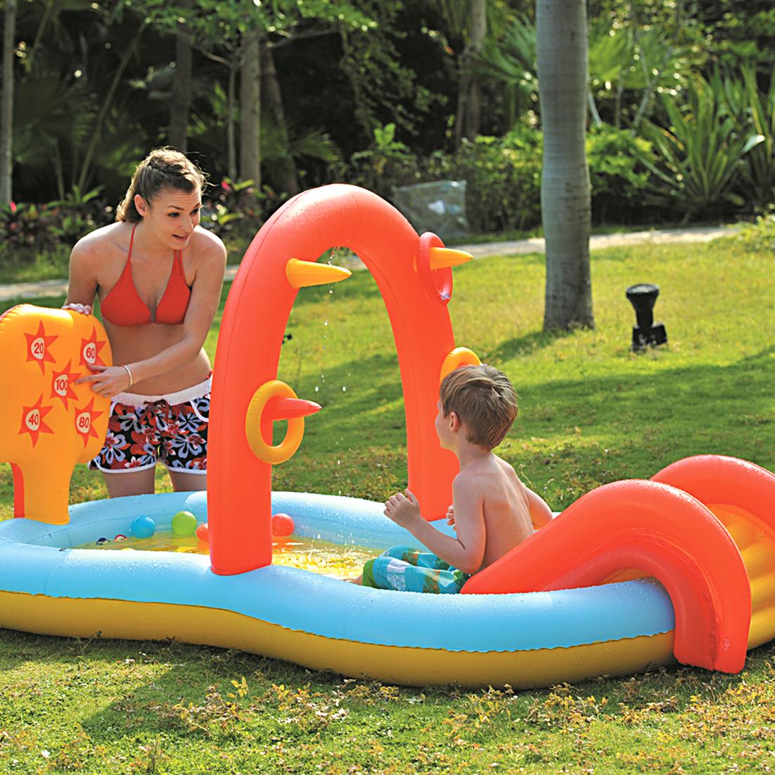 jilong slidding spray pool kinder planschbecken mit wasserspr her f r kinder von 2 6 jahren. Black Bedroom Furniture Sets. Home Design Ideas