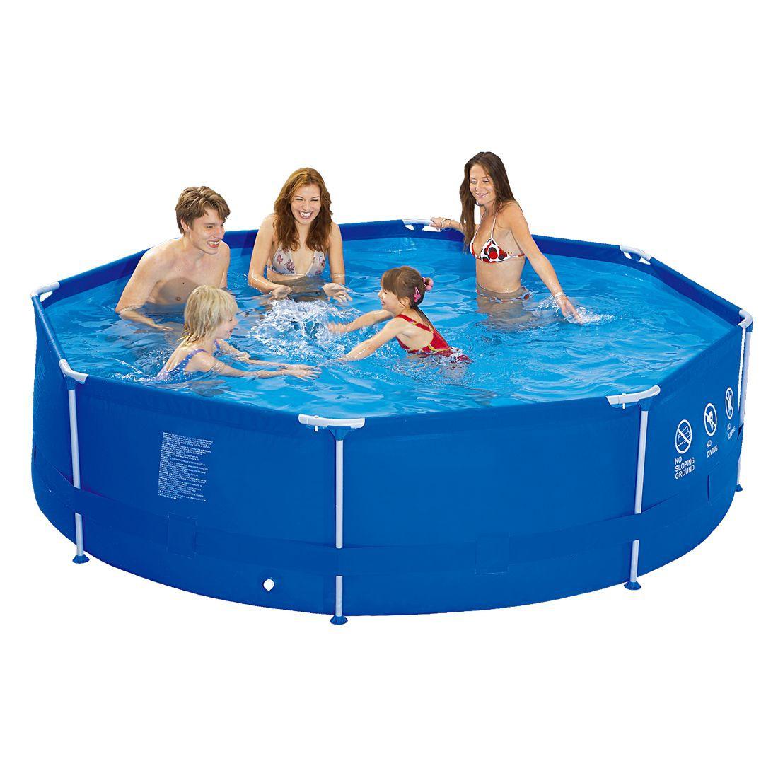 Jilong sirocco blue 540 set piscine cadre en acier for Bache fond piscine