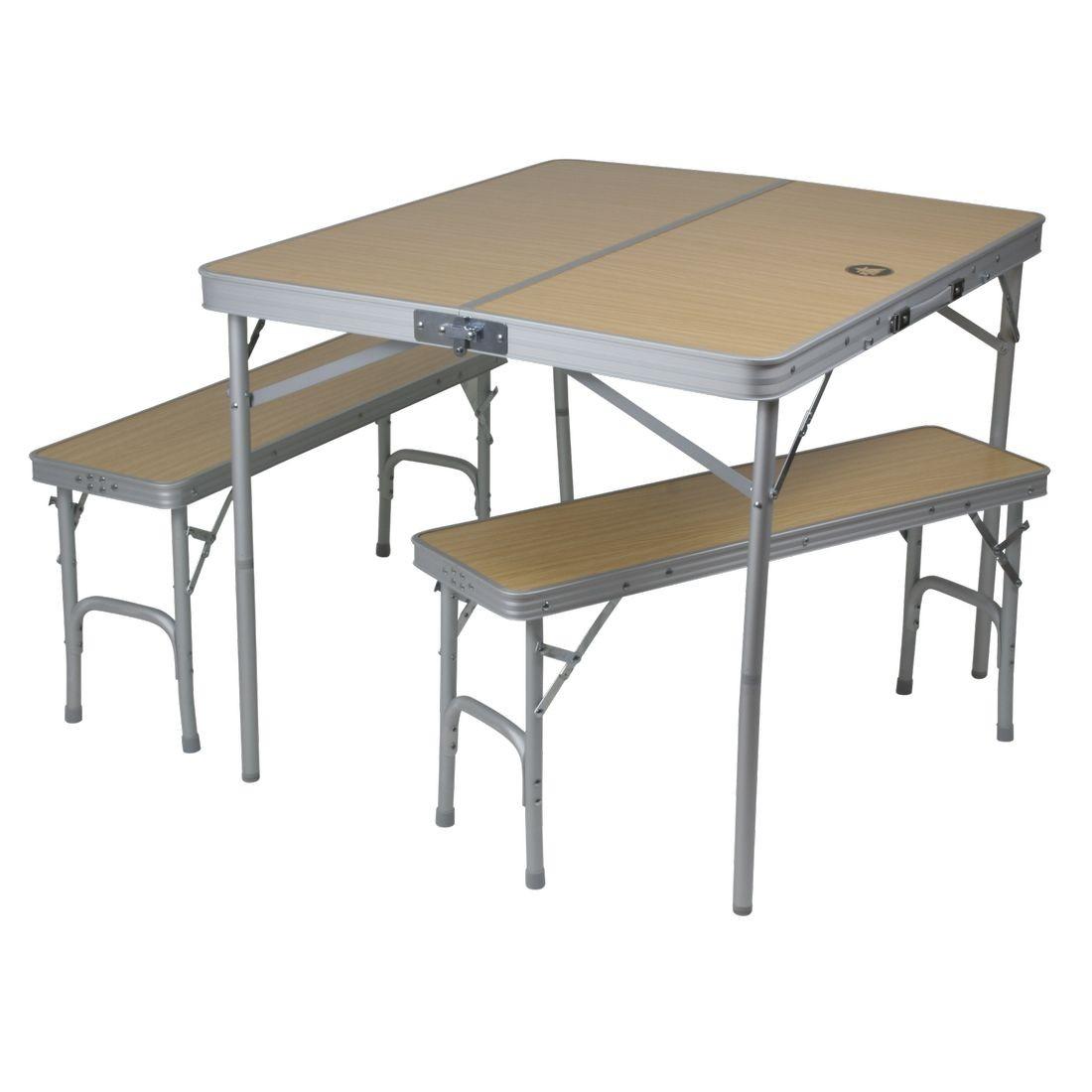Klapptisch camping  10T Portable Bench - Mobiles Tisch-Bank-Set 4 Personen Aluminium ...
