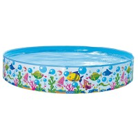 Jilong Sea World Rigid Pool 120 - Quick Fix Pool mit Meerestiere Aufdruck, für Kinder von 2 - 6 Jahren,  Ø120x25 cm
