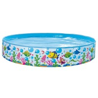 Jilong Sea World Rigid Pool 150 - Quick Fix Pool mit Meerestiere Aufdruck, für Kinder von 2 - 6 Jahren,  Ø150x25 cm