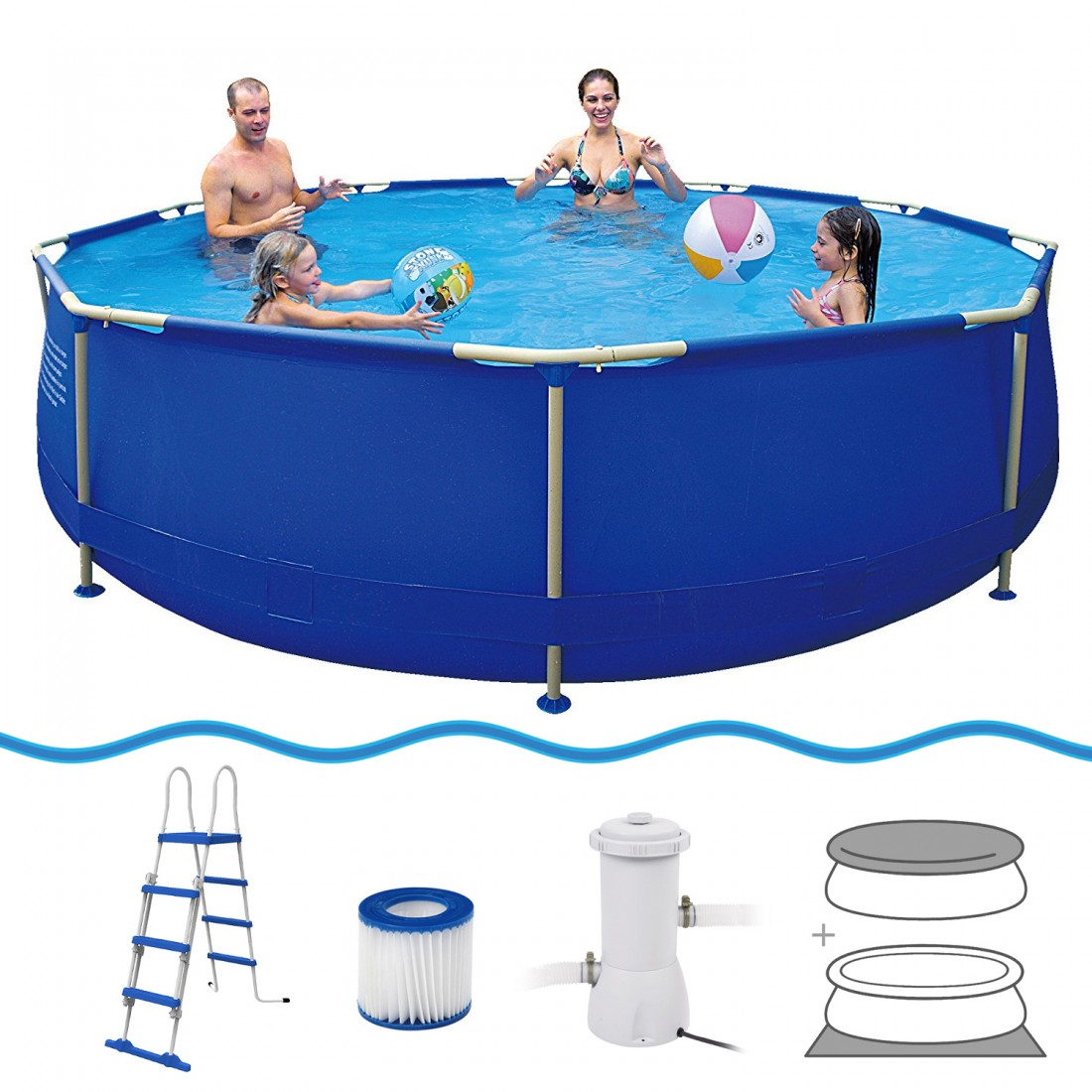 Achetez jilong sirocco blue 450h set piscine cadre en for Bache fond piscine