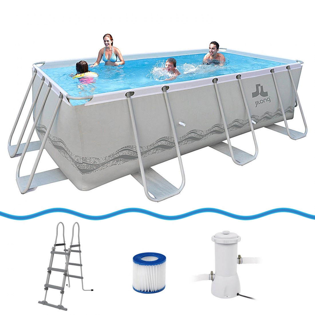 Achetez jilong passaat grey 400 set piscine cadre en for Piscine en acier