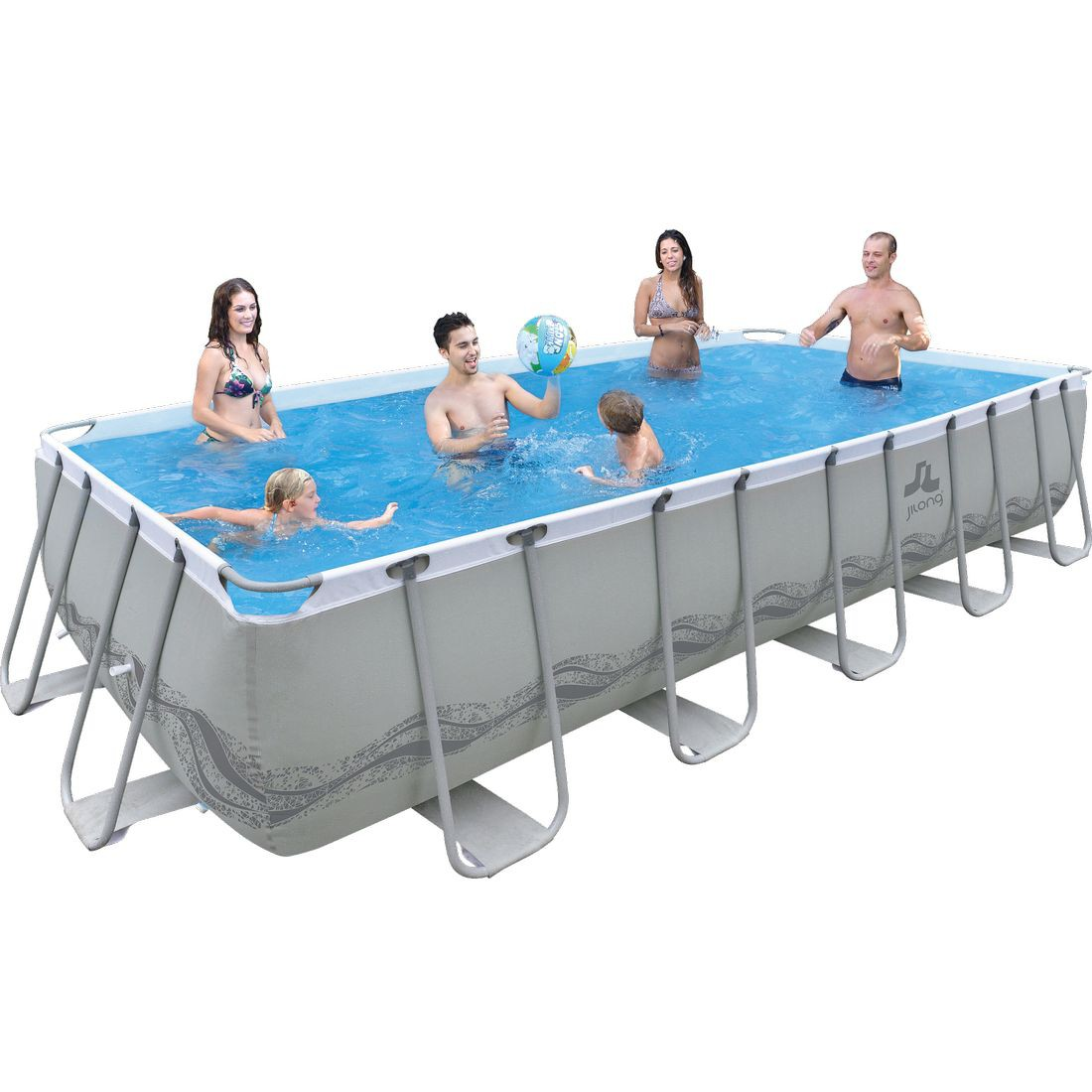 Piscina desmontable tubular gris for Piscinas desmontables rectangulares precios