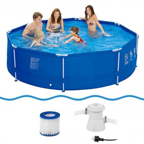 Jilong sirocco swimming pool set 300x76 stahlrohr for Gartenpool 300 cm