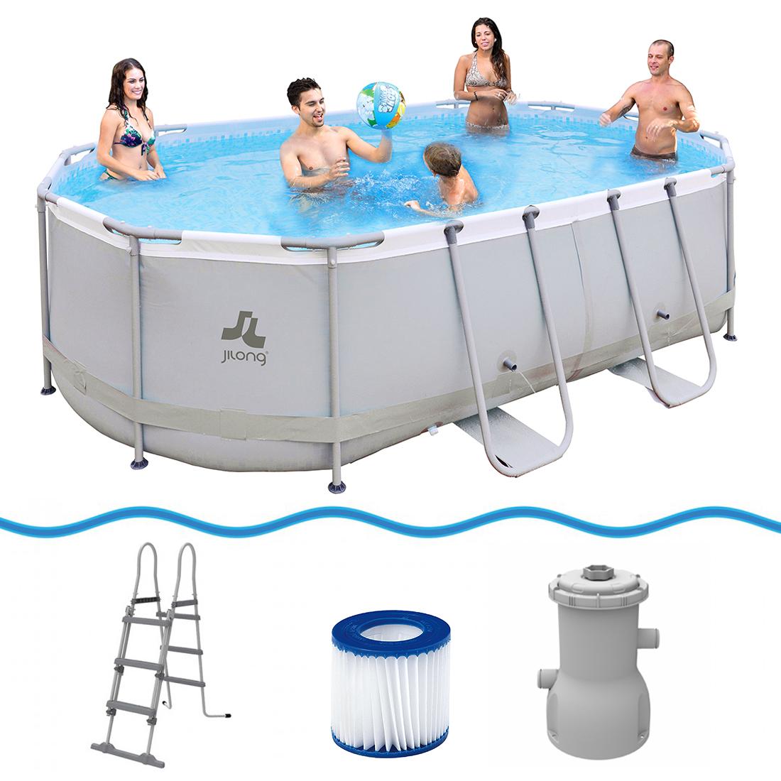 Jilong Oval Swimming Pool Set Passaat Grey - Schwimmbad 427x275x100 ...